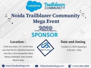 Cloud Analogy Sponsoring Noida Trailblazer Community Mega Event 2019