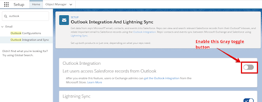 Enable the toggle button in Outlook Integration