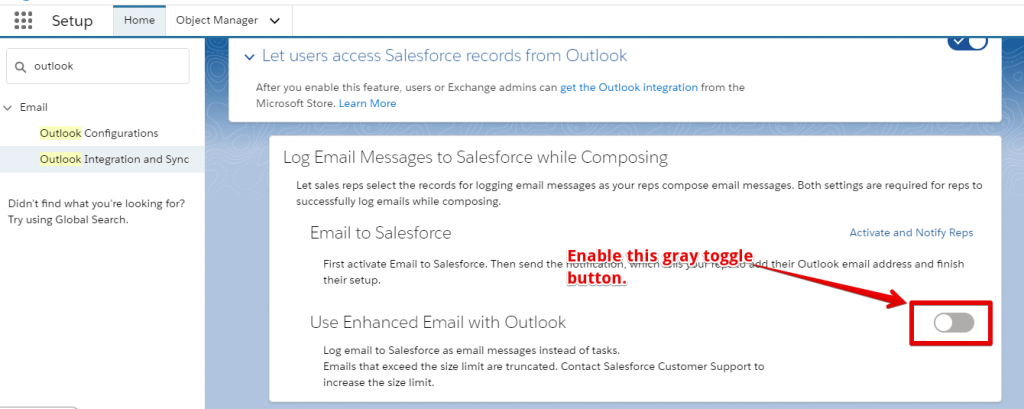 "Enable the toggle button in ""Use Enhanced Email with Outlook"""
