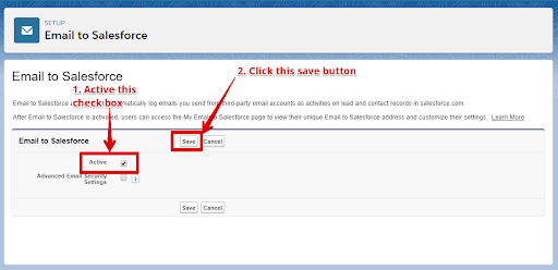 "Click the ""Edit"" button in Email to salesforce"