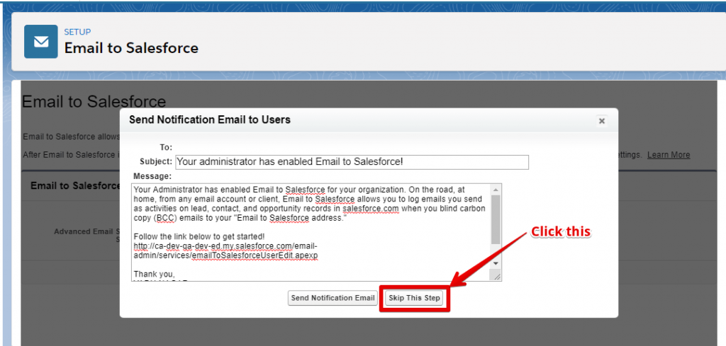 "Click the ""Skip this Step"" button and here ""Setup in Salesforce org"" is completed here"